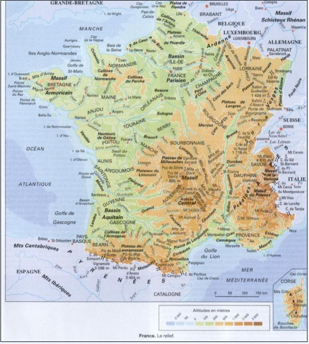 Le relief français | La Revue Franco-Kirghize